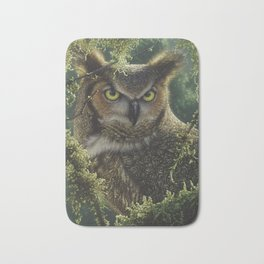 Great Horned Owl - Watching and Waiting Bath Mat