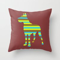 great dane Throw Pillows featuring Great Dane Stripes by Whimsical Notions Design