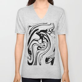 Black, White and Graphic Paint Swirl Pattern Effect Unisex V-Neck