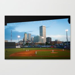 Tulsa Skyline from OneOk Driller Stadium Seats Canvas Print