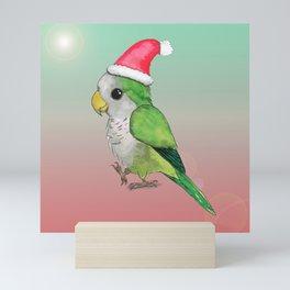 Green Christmas parrot Mini Art Print
