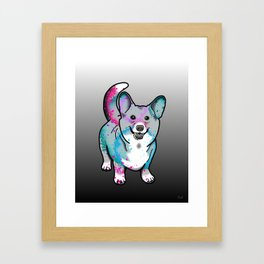 Corgi in Watercolor Splash Framed Art Print