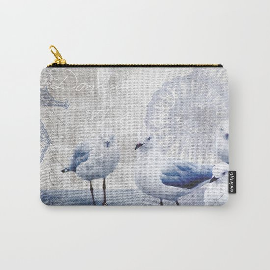 Sea gull ocean mixed media art Carry-All Pouch