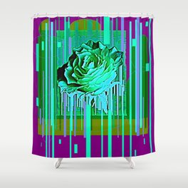 Green-Purple Fantasy Green Rose Abstract Shower Curtain