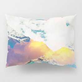 Dreaming Mountains, Colorful Photography Digital Collage, Nature Scenic Travel Moon Landscape Pillow Sham