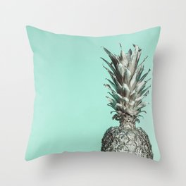Silver Mint Pineapple Throw Pillow