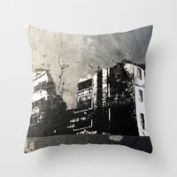 sticker Throw Pillows featuring Sticker City by Shy Photog