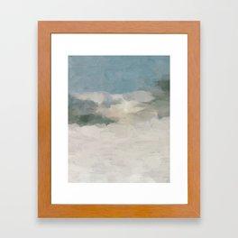 Modern Abstract Painting, Teal Blue, Sage Green, Beige Yellow Sandy Digital Prints Wall Art, Ocean Framed Art Print