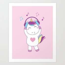 Baby unicorn and headphone Art Print