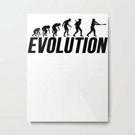 Baseball Evolution Baseball Player Metal Print
