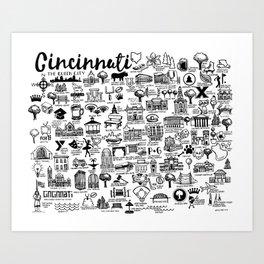 Cincinnati Ohio Map Art Print