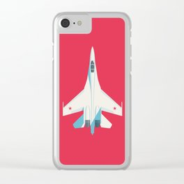 Su-27 Flanker Fighter Jet Aircraft - Crimson Clear iPhone Case