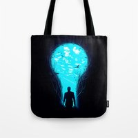 bright Tote Bags featuring Bright Side by nicebleed