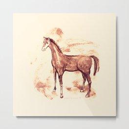Horse sepia illustration Metal Print
