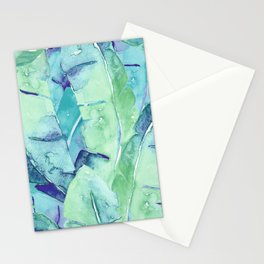 Banana Tree Leaves | Tropical  BLUE Watercolor Stationery Cards