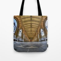 religion Tote Bags featuring Enter religion  by Cozmic Photos