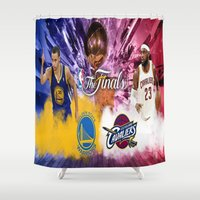 basketball Shower Curtains featuring Basketball  by RickART