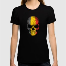 Dark Skull with Flag of Belgium T-shirt