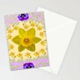 PURPLE PANSIES & DAFFODILS FLOWERS GARDEN MODERN ART Stationery Cards