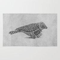 clockwork Area & Throw Rugs featuring Clockwork Bird  by Terry Fan
