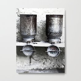 Alte Milchkannen aus den Alpen - Old milk cans from the Alps Metal Print