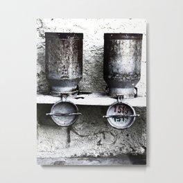 Alte Milchkannen aus den Alpen - Old milk cans from the Alps Metal Print