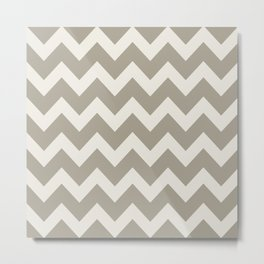 Gray Grey Alabaster Chevron Metal Print