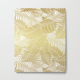 Golden tropical leaves Metal Print