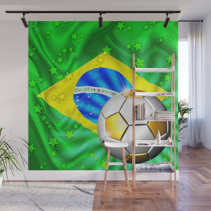 Brazil Flag Gold Green and Soccer Ball Wall Mural by bluedarkatlem