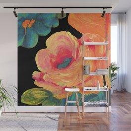 Vintage Rose on Black Wall Mural
