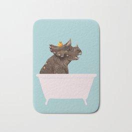 Playful Triceratop in Bathtub Bath Mat