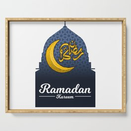 Ramadan Kareem in Golden Arabic Calligraphy with Crescent Moon on The Geometry Background Serving Tray
