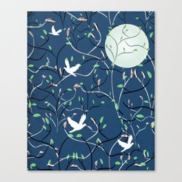 Art Nouveau Moon with Doves (Blue and Silver) Canvas Print