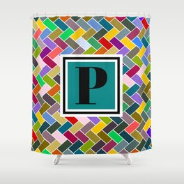P Monogram Shower Curtain