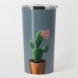 Three Cacti On Blue Background Travel Mug