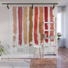 Lipstick Stripes - Red Orange Gold Wall Mural