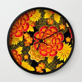 chinese flowers Wall Clock