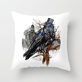 Dark Raven Throw Pillow