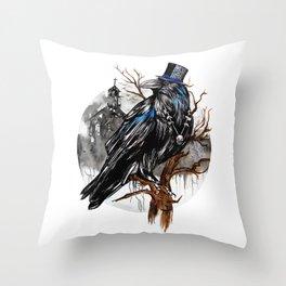 Dark Raven Throw Pillow