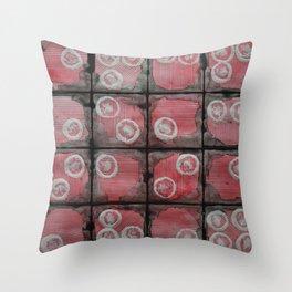 Black Grid Red Stripes Throw Pillow