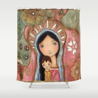 madonna Shower Curtains featuring Madonna of the Flowers by Flor Larios by Flor Larios Art