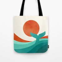 wave Tote Bags featuring Wave (day) by Jay Fleck