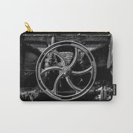Steam Train Big Boy Valve Hand Wheel Detail Black and White Fine Art Photography Carry-All Pouch