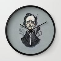 poe Wall Clocks featuring Mr. Poe  by Audrey Benjaminsen