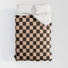 Black and Deep Peach Orange Checkerboard Comforters