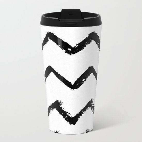 Chevron Stripes Black and White Metal Travel Mug