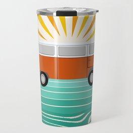 Peace, man - retro 70s hippie bus surfing socal california minimal 1970's style vibes Travel Mug