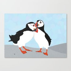 Puffin love you Canvas Print