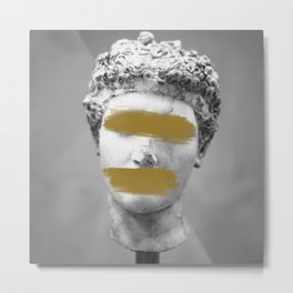 Gold Brush Strokes Marble Statue Metal Print