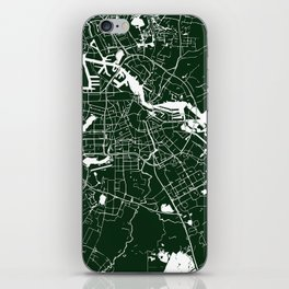 Amsterdam Green on White Street Map iPhone Skin